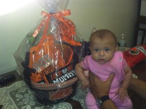 Here she is posing with her Halloween basket I made for her!