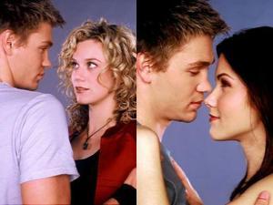 L: Lucas & Peyton. R: Lucas & Brooke.