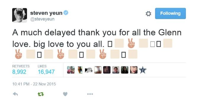 steven yeun thank you twitter