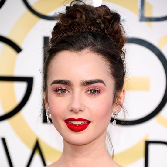 lily-collins-hair-makeup-2017-golden-globes1