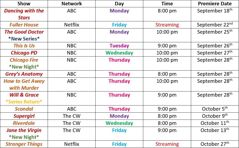 Fall tv schedule 2017