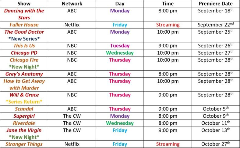 Fall tv schedule 2017