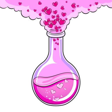 Love potion pop art vector illustration
